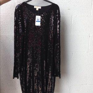 Michael Kors black sequins long sleeve dress sz.XL